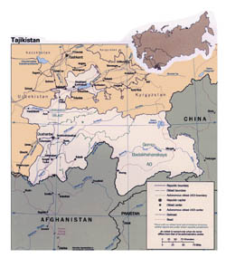 Detailed political map of Tajikistan with roads and major cities.