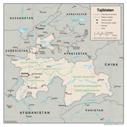 Large detailed political and administrative map of Tajikistan with roads and major cities - 2001.
