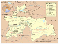 Large detailed political and administrative map of Tajikistan with roads, cities and airports.