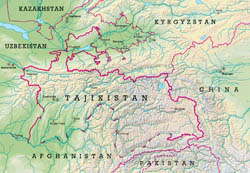 Large relief map of Tajikistan.