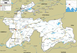 Large road map of Tajikistan with cities and airports.
