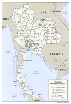 Detailed administrative divisions map of Thailand - 2002.