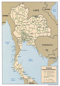 Detailed administrative divisions map of Thailand - 2005.