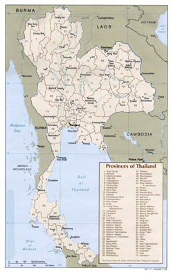 Detailed administrative map of Thailand - 1988.