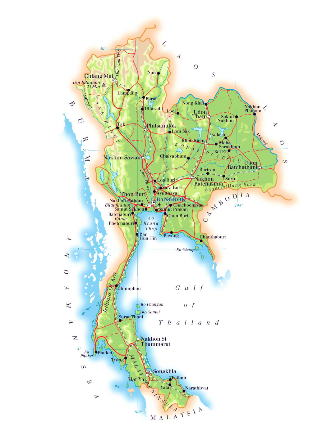 Thailand Topographic Map.Maps Of Thailand Detailed Map Of Thailand In English Tourist