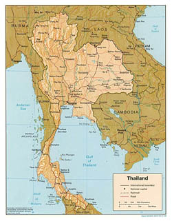 Detailed political map of Thailand with relief, roads and major cities - 1988.