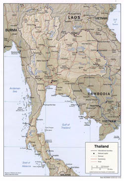 Detailed political map of Thailand with relief, roads and major cities - 2002.