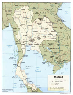Detailed political map of Thailand with roads and major cities - 1988.