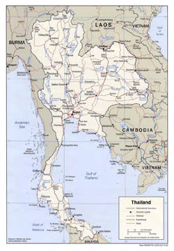Detailed political map of Thailand with roads and major cities - 2002.