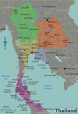 Large detailed regions map of Thailand.