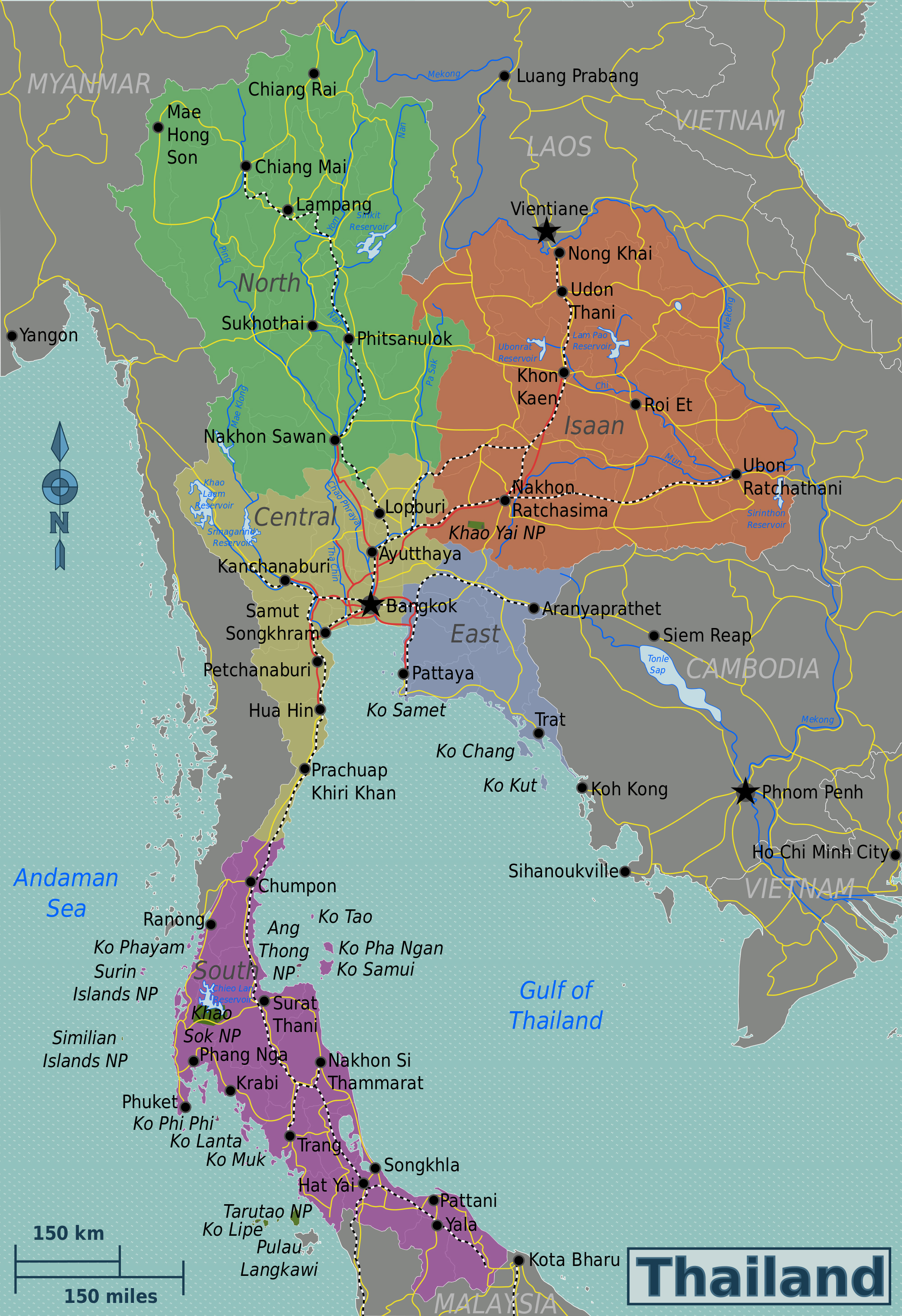 maps of thailand detailed map of thailand in english