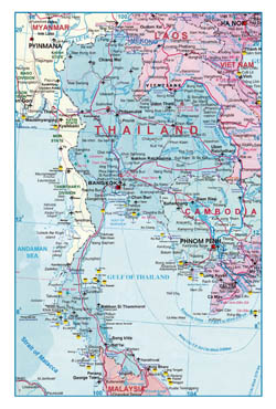 Large detailed road map of Thailand with airports.