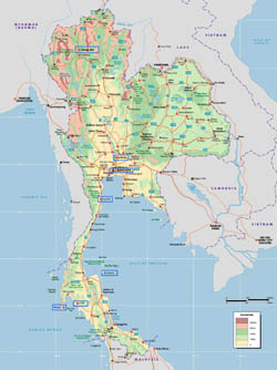 Large elevation map of Thailand.