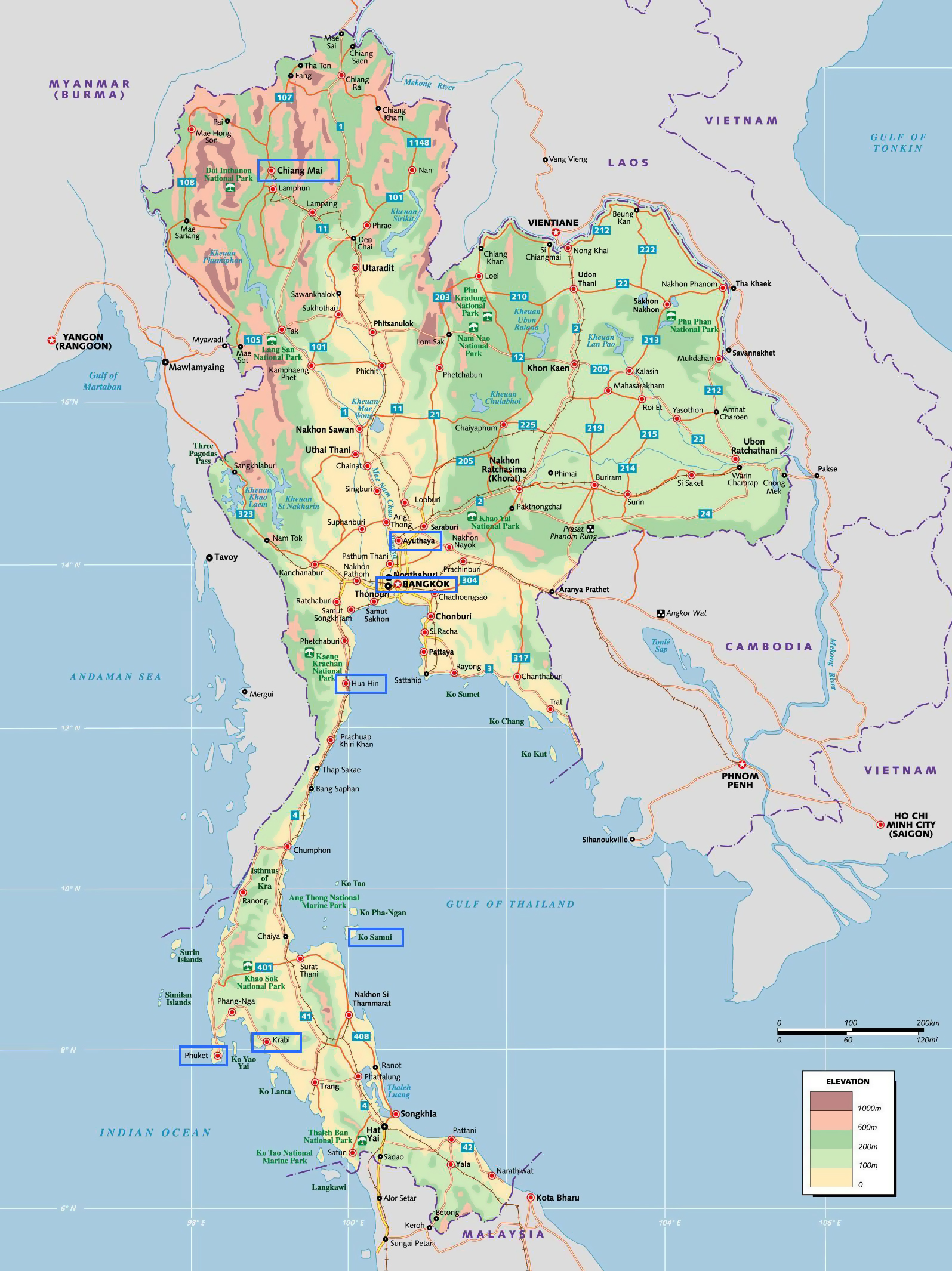 Maps of thailand detailed map of thailand in english tourist large elevation map of thailand gumiabroncs Gallery