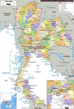 Large political and administrative map of Thailand with roads, cities and airports.