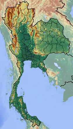 Large relief map of Thailand.