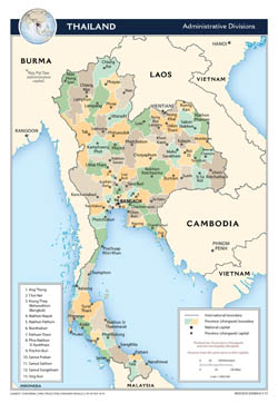 Large scale administrative divisions map of Thailand - 2013.