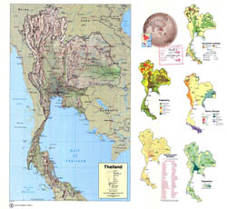 Large scale detailed country profile map of Thailand - 1974.