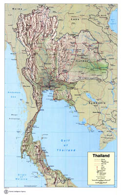 Large scale political map of Thailand with relief, roads, railroads, major cities, airports and seaports - 1974.