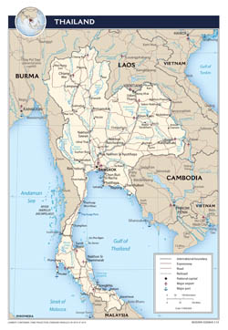 Large scale political map of Thailand with roads, major cities and airports - 2013.