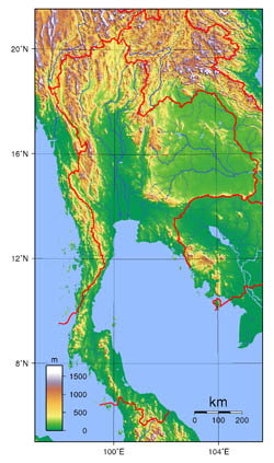 Large topographical map of Thailand.