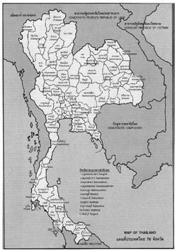 Provinces map of Thailand.