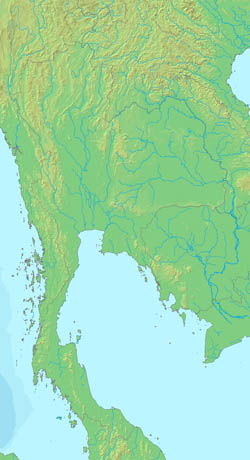 Relief map of Thailand.