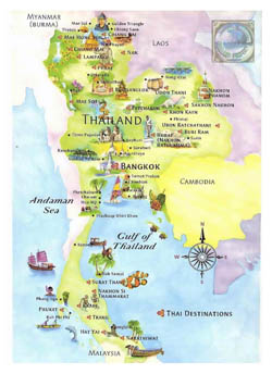 Tourist map of Thailand.