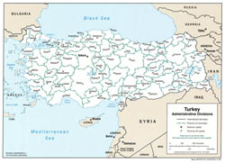 Administrative divisions map of Turkey - 2006.