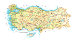 Detailed elevation map of Turkey with roads, cities and airports.