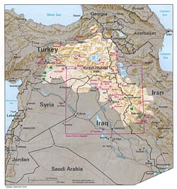 Detailed map of Kurdish Lands with relief - 1992.