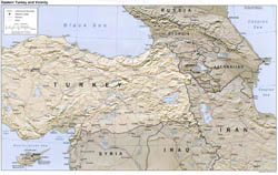 Detailed political map of Eastern Turkey and Vicinity with relief, roads and cities - 2002.
