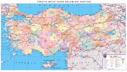 In high resolution detailed political and administrative map of Turkey with roads and cities in turkish.