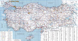 In high resolution detailed road map of Turkey.