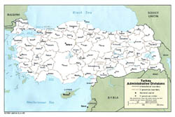 Large administrative divisions map of Turkey - 1983.
