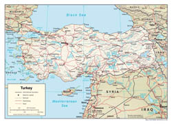 Large detailed political map of Turkey with relief, roads and major cities - 2006.