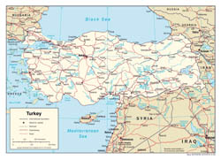Large detailed political map of Turkey with roads and major cities - 2006.