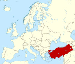 Large location map of Turkey in Europe.