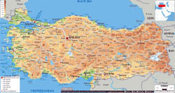 Large physical map of Turkey with roads, cities and airports.