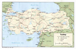 Large political map of Turkey - 1983.