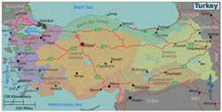 Large regions map of Turkey.