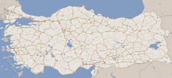 Large road map of Turkey with all cities.