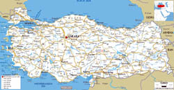 Large road map of Turkey with cities and airports.