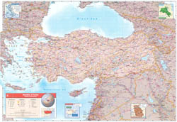 Large scale contry profile map of Turkey.