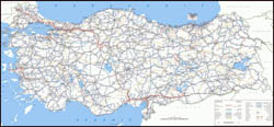 Large scale road map of Turkey.