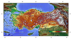 Large topographical map of Turkey.