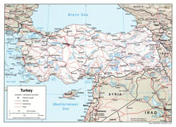 Political map of Turkey with relief - 2006.
