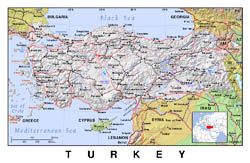 Political map of Turkey with relief.
