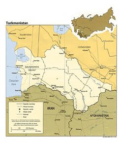 Detailed political and administrative map of Turkmenistan - 1991.