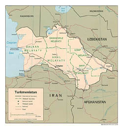 Detailed political and administrative map of Turkmenistan - 1994.